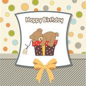 Tarjeta de felicitación de cumpleaños con osito de peluche y caja de regalo — Foto de Stock