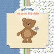Stock Photo: New baby announcement card with teddy bear and flower