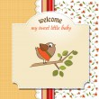 Welcome card with funny little bird  — Stock Photo