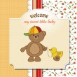 Welcome baby card with boy teddy bear and his duck — Stock Photo