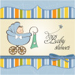 Stock Photo: Baby boy announcement card with baby and pram