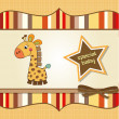 Постер, плакат: New baby announcement card with giraffe