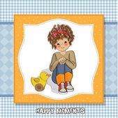 Dziewczyna kręcone grać z jej zabawka kaczka — Zdjęcie stockowe