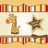 Nieuwe baby aankondiging kaart met giraf — Stockfoto