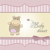 Childish baby girl shower card with hippo toy — Stock Photo