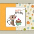 Birthday greeting card with a cat waiting to eat a cake  — Stock Photo