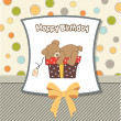 Birthday greeting card with teddy bear and big gift box — Stock Photo