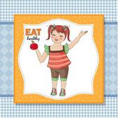 Jovencita recomienda alimentos saludables — Foto de Stock