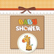 Baby shower card with giraffe toy — Photo