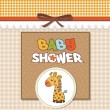 Baby shower card with giraffe toy — Stok fotoğraf