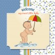 Baby showing his butt. baby shower card — Stock Photo