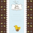 Baby shower card with duck toy — Stock Photo #9044263