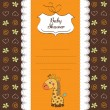 New baby announcement card with giraffe — Stock Photo #9044278
