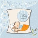 lilla baby boy sömn med sin Nalle leksak. Baby Dusch-kort — Stockfoto