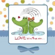 Crocodiles in love.Valentine's day card — Stok fotoğraf