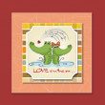 Crocodiles in love.Valentine's day card — Stockfoto