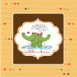Crocodiles in love.Valentine's day card — Stock Photo