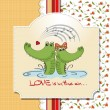 Crocodiles in love.Valentine's day card — Stock Photo #9044658