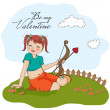 图库照片: Young pretty girl with cupid bow. valentine's day card