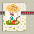 Young pretty girl with cupid bow. valentine's day card — 图库照片