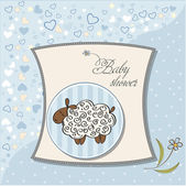 Cute baby boy shower card with sheep — Stock Photo