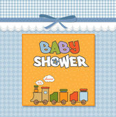 Baby shower card with toy train — Stock Photo