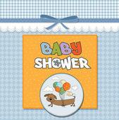 Tarjeta de ducha de bebé con perro alargado y globos — Foto de Stock
