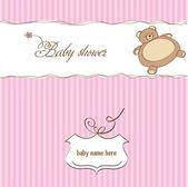 Romantic baby shower card with teddy bear — Stock Photo
