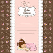 Little baby girl play with her teddy bear toy. new baby announcement card — Stock Photo