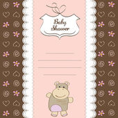 New baby girl shower card with hippo toy — Stock Photo
