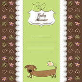 Funny baby shower card with long dog — Stock Photo