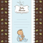 Baby announcement card with little boy — Stock Photo