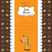 New baby announcement card with giraffe — Photo