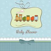 Baby sprcha karty s vláček — Stock fotografie