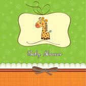Nouvelle carte d'annonce bébé girafe — Photo