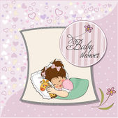Baby shower card with little girl and her toy — Stock Photo