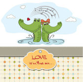 Crocodiles in love.Valentine's day card — 图库照片