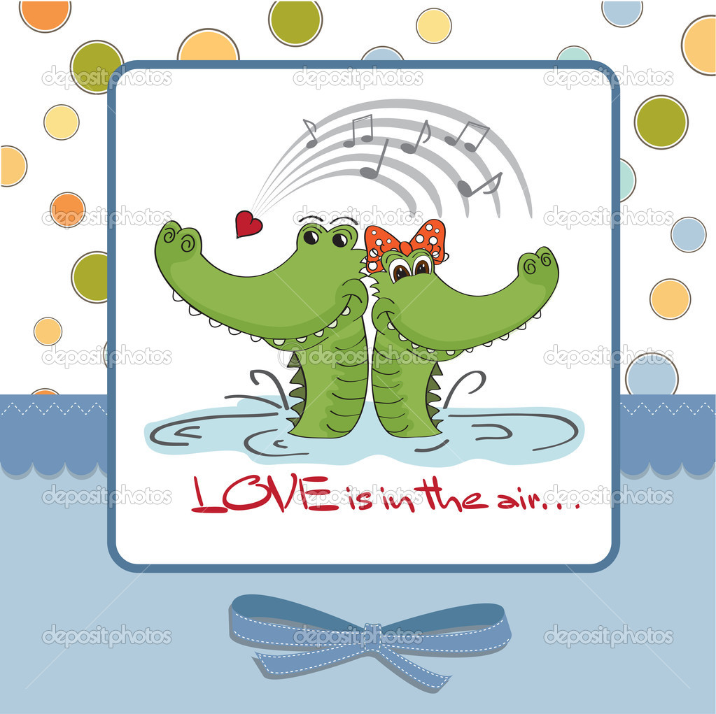 Crocodiles in love.Valentine's day card — Stock Photo #9044604