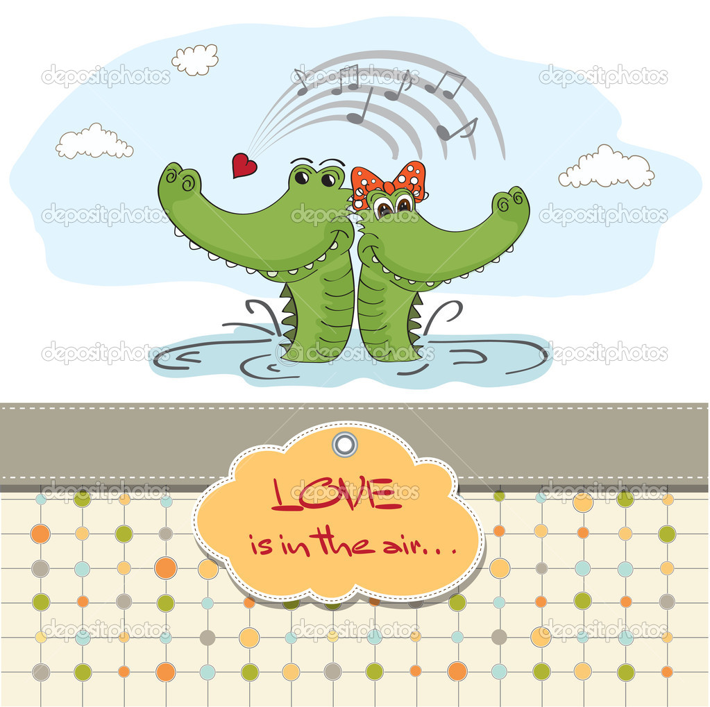 Crocodiles in love.Valentine's day card — Stock Photo #9044609