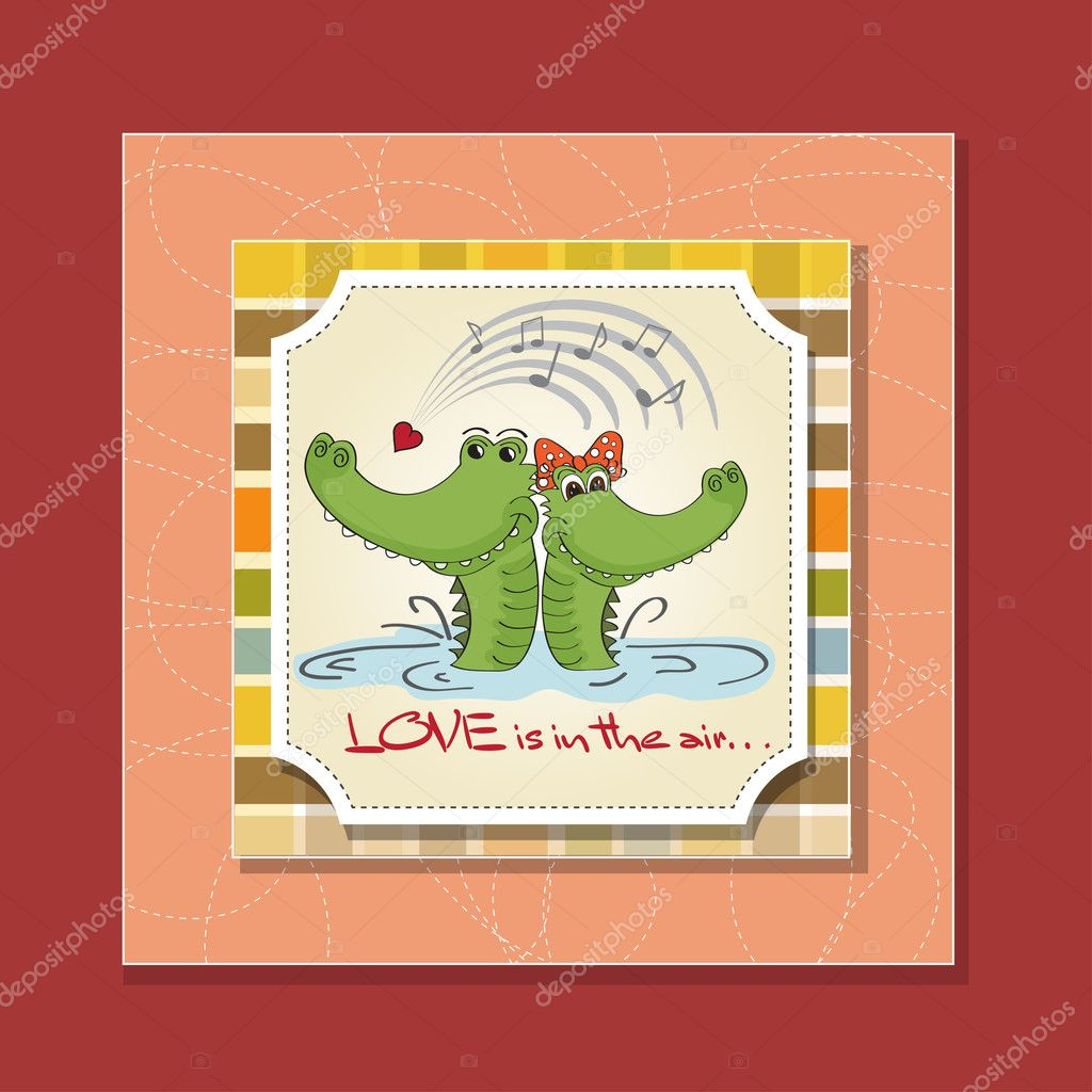 Crocodiles in love.Valentine's day card — Stock Photo #9044622