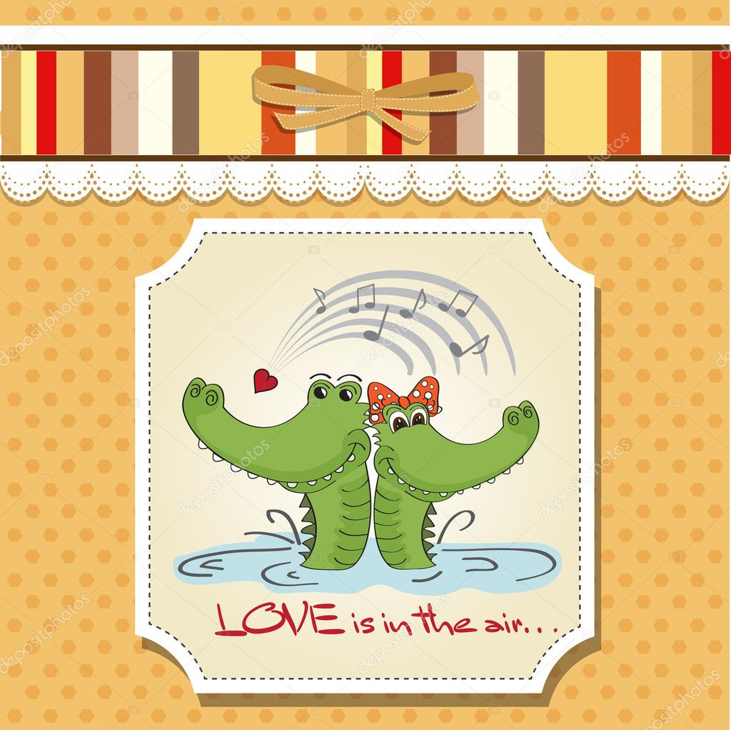 Crocodiles in love.Valentine's day card — Stock Photo #9044626