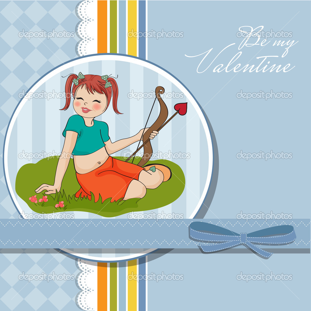 Young pretty girl with cupid bow. valentine's day card  Stock Photo #9044669