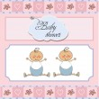 Baby twins shower card — Stock Photo #9222382