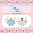 Baby twins shower card — Stock Photo #9222425
