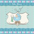 Baby boy announcement card with baby and pram — Stock Photo #9224807
