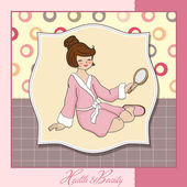 Señora Spa que mira en un espejo — Foto de Stock