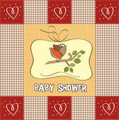 Willkommen baby-karte mit lustigen kleinen vogel — Stockfoto