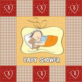 Little baby boy sleep with his teddy bear toy. Baby shower card — Stock Photo