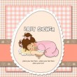 New baby girl shower card with little girl — Stock Photo