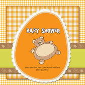 Romantic baby shower card with teddy bear — Stock Photo